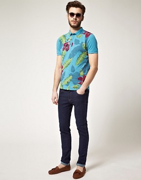 Image 4 of ASOS Polo With Hawaiian Print