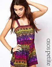 ASOS PETITE Exclusive Playsuit In Aztec Print