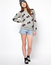 House of Holland Sequinned Floral Sweatshirt