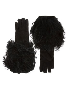 Image 1 ofUGG Long Pile Shearling Cuff Gloves