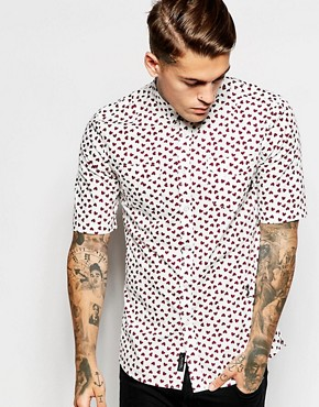 Religion Short Sleeve Shirt with All Over Heart Print