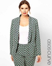ASOS CURVE Exclusive Blazer In Statement Geo