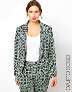 Image 1 ofASOS CURVE Exclusive Blazer In Statement Geo