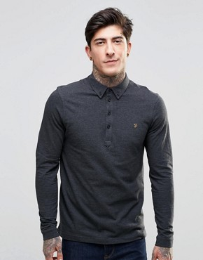 Farah Polo Shirt With Long Sleeves In Slim Fit Grey