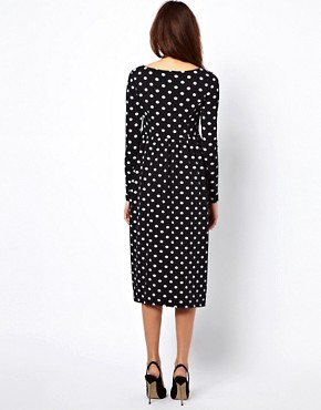 Image 2 ofASOS Maternity Spot Midi Dress