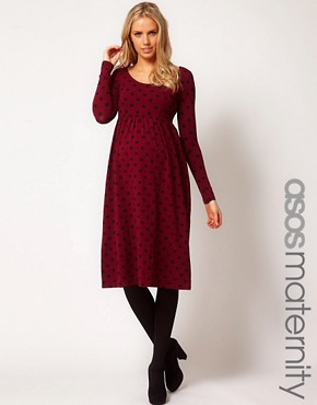 Image 1 ofASOS Maternity Spot Midi Dress