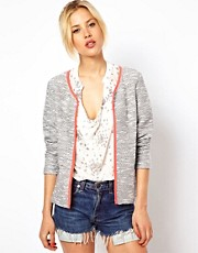 ASOS Blazer In Textured Boucle with Fluro Binding