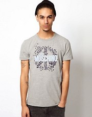 Love Moschino T-Shirt with Leopard Peace Sign