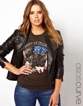 Image 1 ofASOS CURVE Leather Biker Jacket