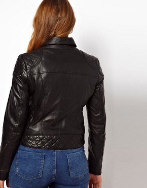 Image 2 ofASOS CURVE Leather Biker Jacket
