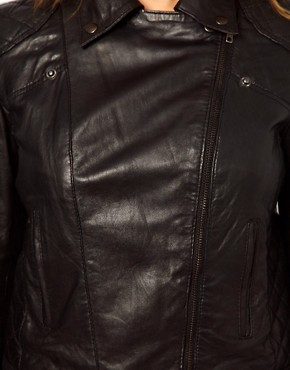 Image 3 ofASOS CURVE Leather Biker Jacket