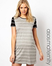ASOS Maternity T-Shirt Dress in Stripe with Contrast Sleeves