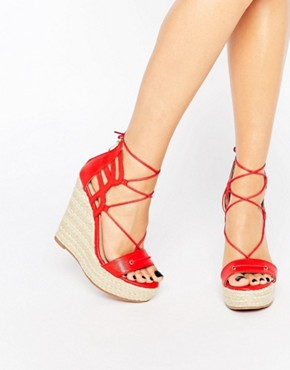 Daisy Street Tie Up Wedge Espadrilles