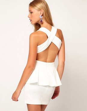 Image 1 ofASOS Peplum Dress with Cut Out Back