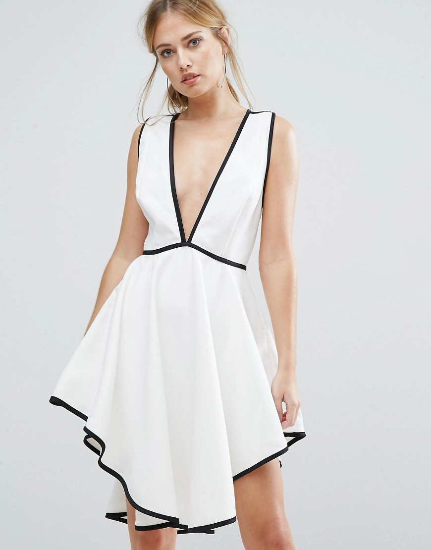 Finders Asher Plunge Front Dress With Dipped Hem
