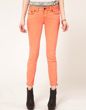 Image 1 ofFree People Faded Neon Ankle Grazer Skinny Jeans