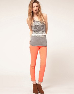 Image 4 ofFree People Faded Neon Ankle Grazer Skinny Jeans