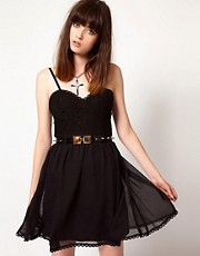 Thirty Four Disciples Corset Dress With Studded Belt
