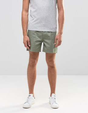 ASOS Stretch Slim Chino Shorts in Green