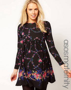 Image 1 ofASOS Maternity Smock Dress With Floral Border