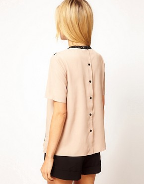 Image 2 ofASOS Blouse With Pintucks And Contrast Lace Trims