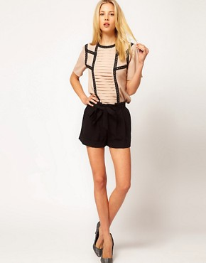 Image 4 ofASOS Blouse With Pintucks And Contrast Lace Trims