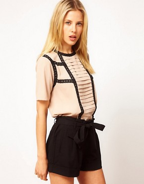 Image 1 ofASOS Blouse With Pintucks And Contrast Lace Trims