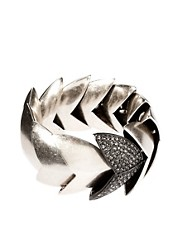 Giles &amp; Brother Nara Silver Oxide Bracelet with Pave Black Diamond Rhinestones