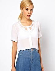 ASOS Blouse With Embroidered And Cutwork Yoke