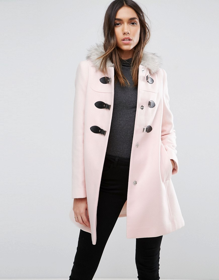 ASOS Duffle Coat with Faux Fur Hood - Pink