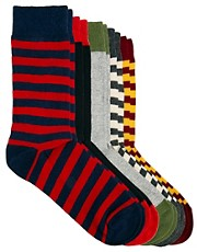 ASOS Rugby Stripe 5 Pack Sock