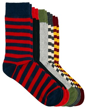 Image 1 ofASOS Rugby Stripe 5 Pack Sock