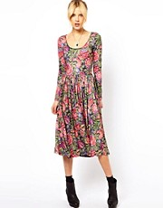 ASOS Midi Dress In Tapestry Style Print