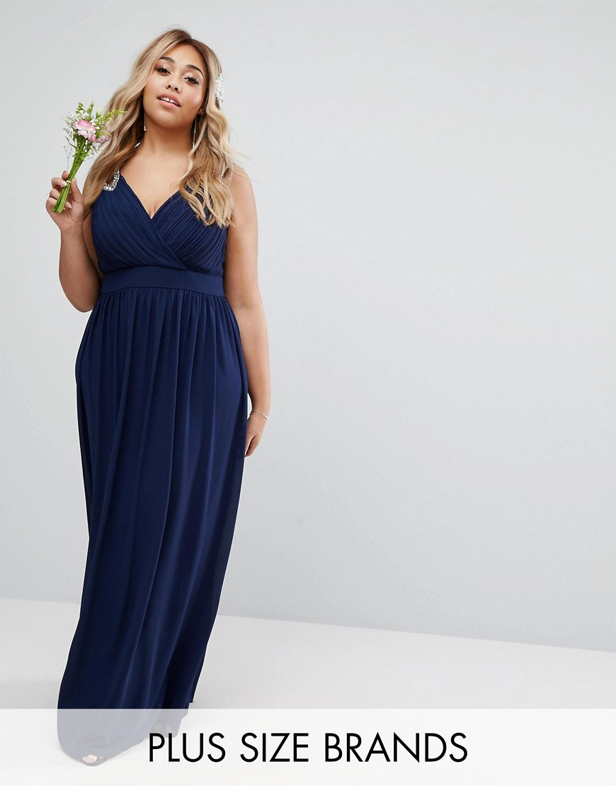 TFNC Plus Wedding Wrap Embellished Maxi Dress - Navy