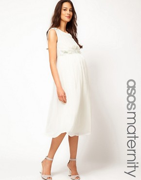 Image 1 ofASOS Maternity Exclusive Midi Dress With Flower Applique