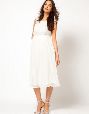 Image 4 ofASOS Maternity Exclusive Midi Dress With Flower Applique