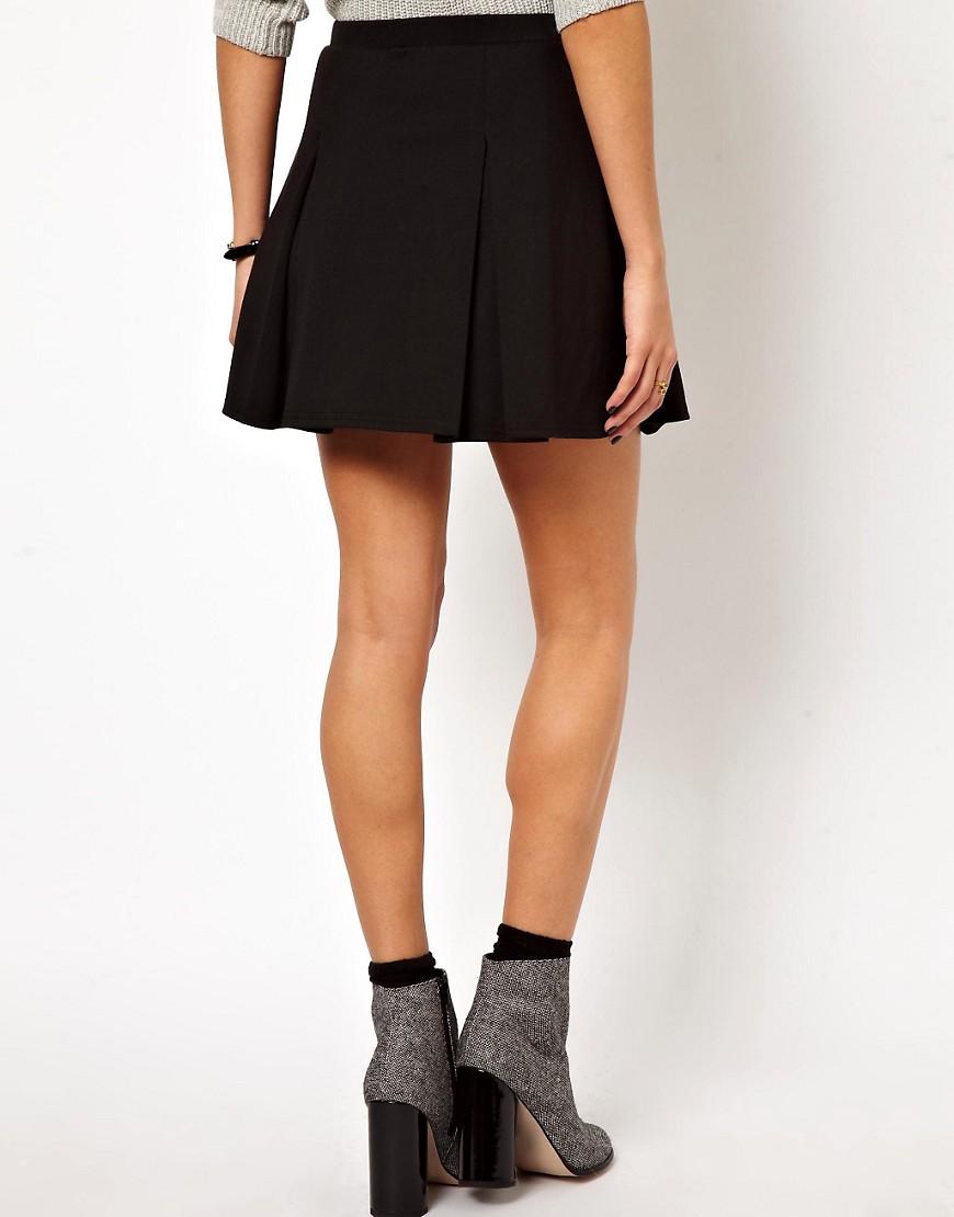 Image 2 ofASOS Box Pleat Skater Skirt in Ponte