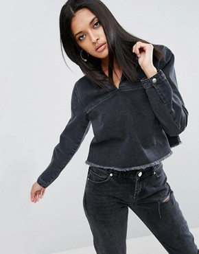 ASOS Denim Cropped Hoodie Top in Washed Black