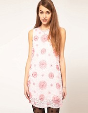 ASOS Shift Sequin Dress with Pink Flowers