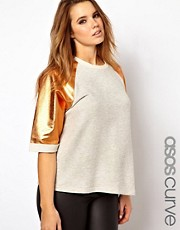ASOS CURVE Sweatshirt With Rose Gold Sleeves