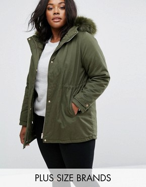 New Look Plus Tonal Faux Fur Parka Jacket