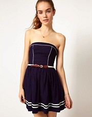 Hilfiger Denim Belted Strapless Dress