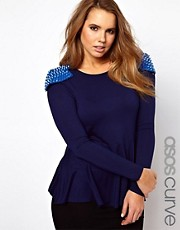 ASOS CURVE Exclusive Long Sleeve Peplum Top With Studs