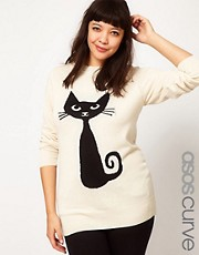 ASOS CURVE Exclusive Jumper With Black Cat