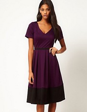 ASOS Midi Dress in Ponte with Contrast Hem