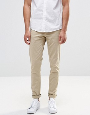 Pull&Bear Stretch Slim Fit Chinos In Beige