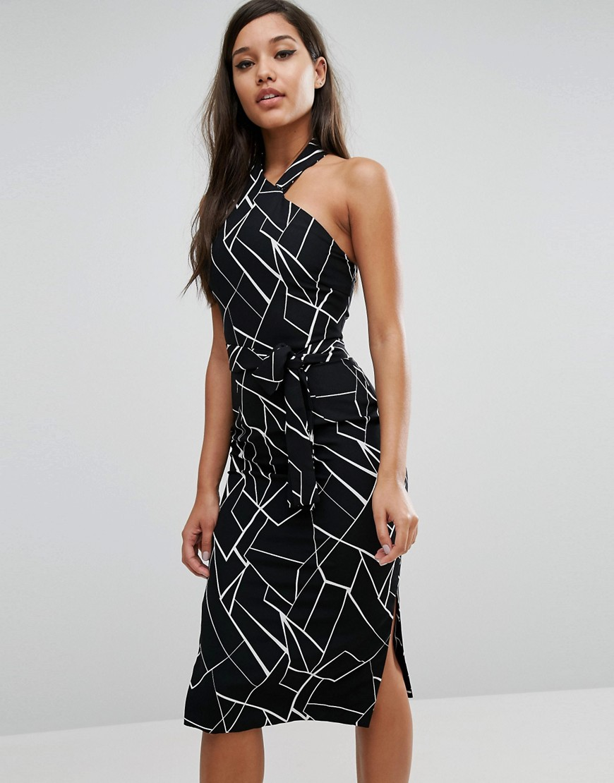 Lavish Alice Halterneck Midi Dress - Black/ white
