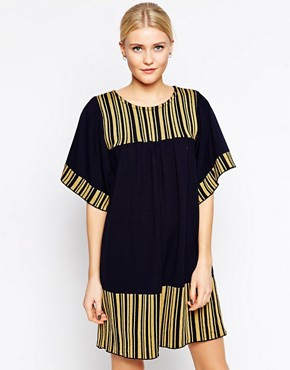 Ivana Helsinki Shift Dress With Contrast Stripe Detail