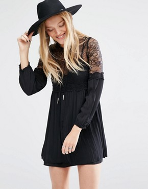 Mango Lace Detail Smock Dress