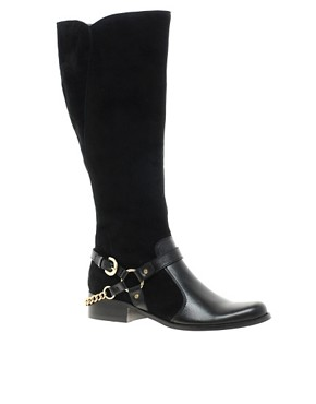 Image 1 of Dune Morgan Knee High Suede Boot with Hardware Detail